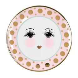 Piattino multicolor da dolce con fantasia occhi dolci
