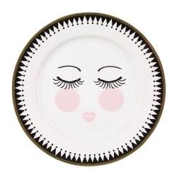 Piattino bianco da dolce con fantasia occhi dolci