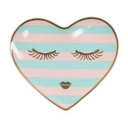Piattino a forma di cuore con fantasia occhi dolci