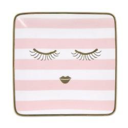 Piattino in ceramica con fantasia occhi dolci