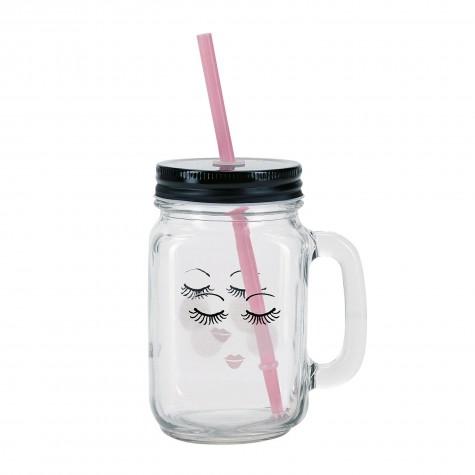 Bicchiere di vetro trasparente fantasia occhi dolci