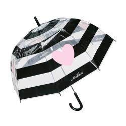 Ombrello a righe nere con cuore