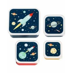 Set di 4 contenitori porta pranzo/merenda fantasia spaziale