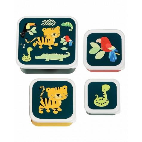 Set di 4 contenitori porta pranzo/merenda fantasia giungla
