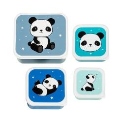 Set di 4 contenitori porta pranzo/merenda fantasia panda