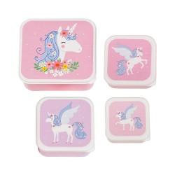Set di 4 contenitori porta pranzo/merenda fantasia unicorno