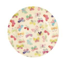 Piatto frutta rosa con fantasia farfalle