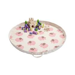 Tappeto-gioco e borsa 2in1 fantasia elefantino rosa