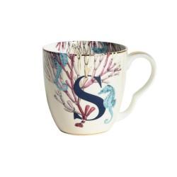 Tazzina mug in porcellana con fantasia cavalluccio marino