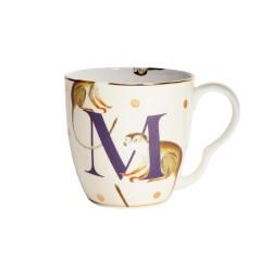 Tazzina mug in porcellana con fantasia scimmiette