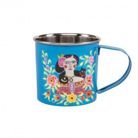 Tazza rossa in acciaio Frida Kahlo
