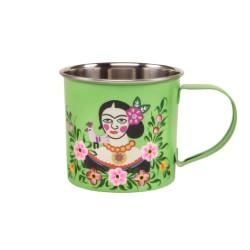 Tazza verde in acciaio Frida Kahlo