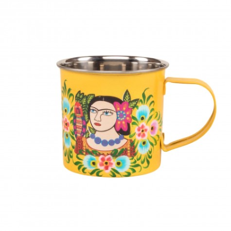 Tazza gialla in acciaio Frida Kahlo
