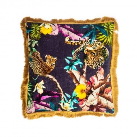Cuscino in velluto fantasia giaguari