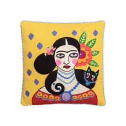 Cuscino Frida Kahlo giallo con gattino nero