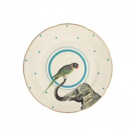 Piattino da dolce in porcellana con fantasia elefante e