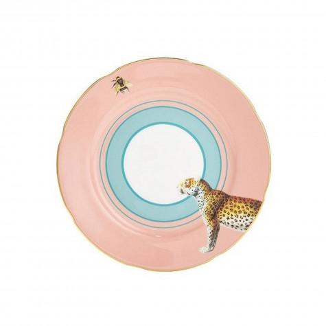 Piattino da dolce in porcellana con fantasia leopardo