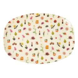 Piatto ovale in melamina fantasia fiori e frutta