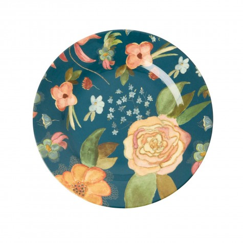 Piatto frutta in melamina fantasia fiori d'Autunno