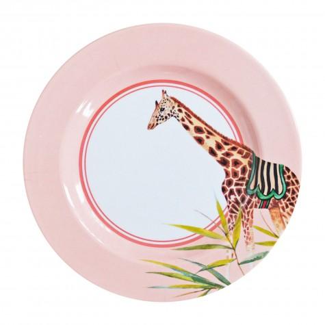 Piatto frutta in melamina fantasia giraffa del circo