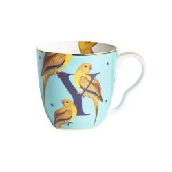 Tazza mug in porcellana con fantasia pappagalli