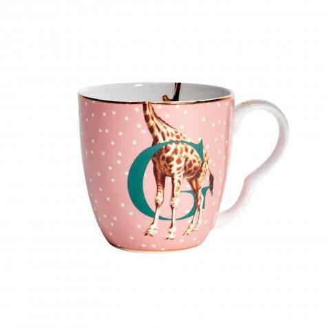 Tazza mug in porcellana con fantasia giraffa