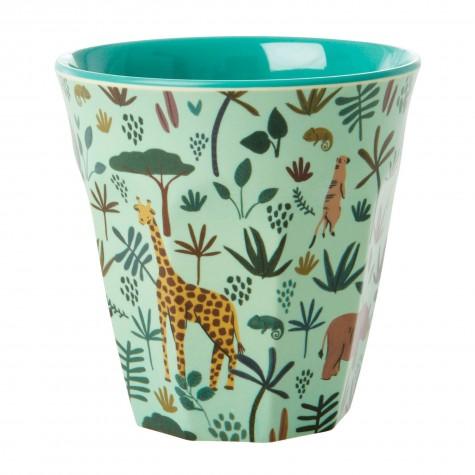 Bicchiere in melamina verde con fantasia giungla