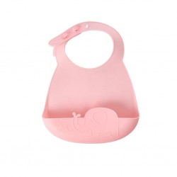 Bavaglino rosa per bebè fantasia elefantino