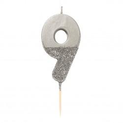 Candelina argento glitterata 9