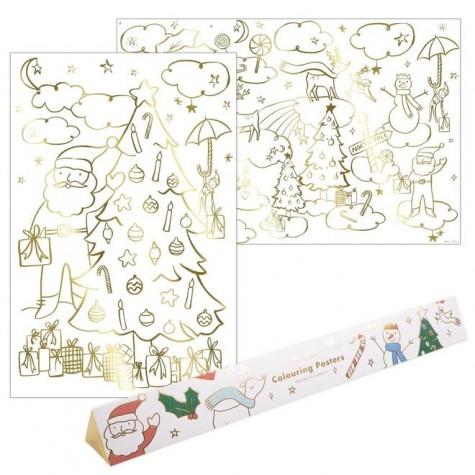 Poster olografici di Natale da colorare