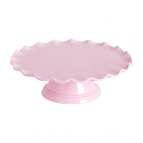 Alzatina rosa con bordo ondulato