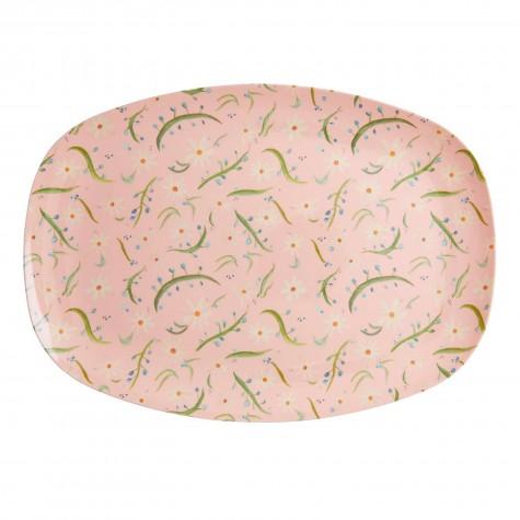 Piatto ovale rosa fantasia margherite
