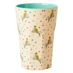 Bicchierone latte fantasia a pois con pappagalli