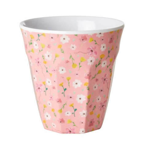 Bicchiere in melamina rosa fantasia fiorellini