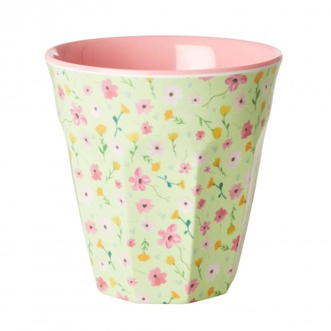 Bicchiere in melamina verde fantasia fiorellini
