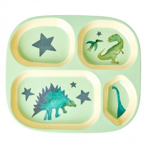 Piatto pappa a scomparti fantasia dinosauri