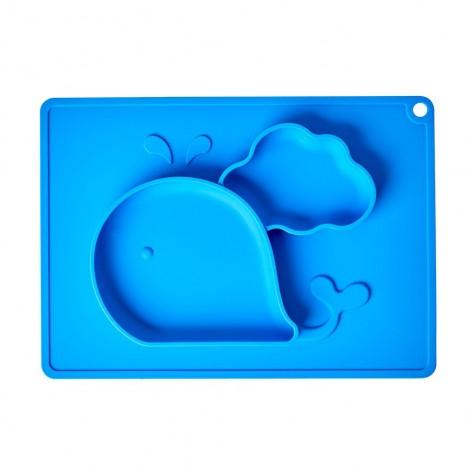 Tovaglietta in silicone blu con scomparti pappa fantasia