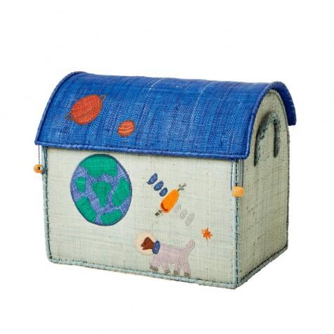 Cesta porta giochi in rafia azzurra con ricami fantasia Space