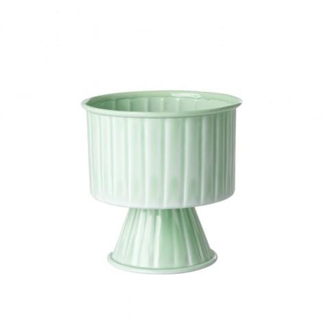 Vaso portafiori verde pastello in metallo smaltato