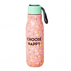 Borraccia in acciaio rosa fantasia floreale Choose Happy
