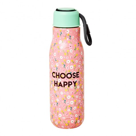 Borraccia in acciaio rosa fantasia floreale Choose Happy