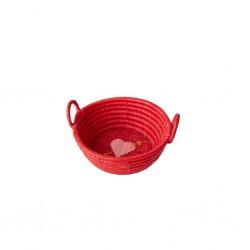 Cestino portapane mini in rafia rossa con cuore trafitto