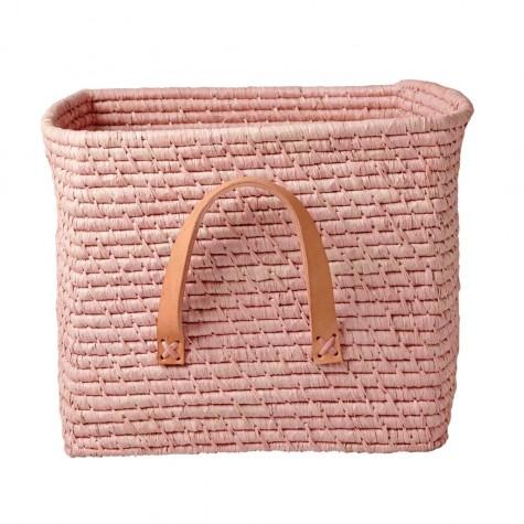 Contenitore in rafia rosa con manici...