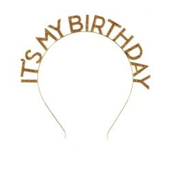 Cerchietto per capelli dorato It's my Birthday