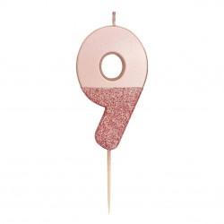 Candelina rosa dorato glitter numero 9