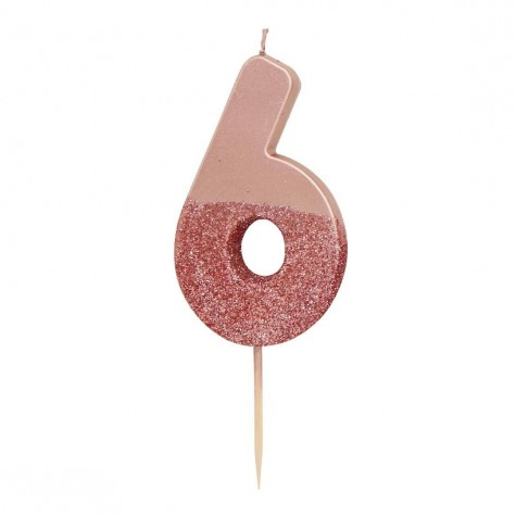 Candelina rosa dorato glitter numero 6
