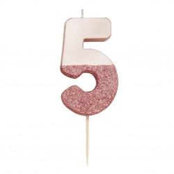 Candelina rosa dorato glitter numero 5