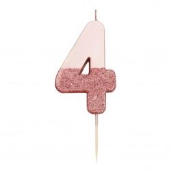 Candelina rosa dorato glitter numero 4