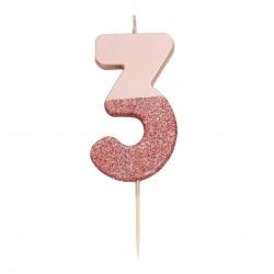 Candelina rosa dorato glitter numero 3