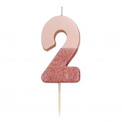 Candelina rosa dorato glitter numero 2